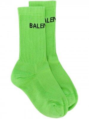 Трикотажные носки с логотипом Balenciaga. Цвет: зеленый