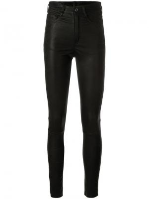 Кожаные брюки облегающего кроя Drome. Цвет: черный