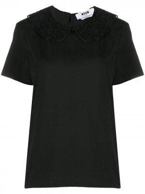Блузка с кружевным воротником Питер Пэн MSGM. Цвет: черный