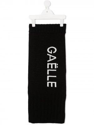 Трикотажная юбка с логотипом Gaelle Paris Kids. Цвет: черный