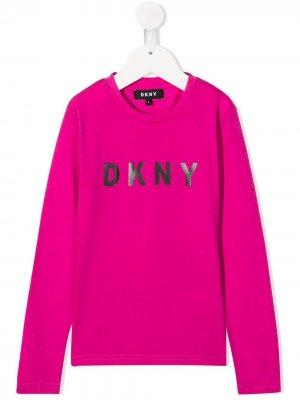 Толстовка с логотипом Dkny Kids. Цвет: розовый