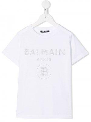 Contrast logo T-shirt Balmain Kids. Цвет: белый