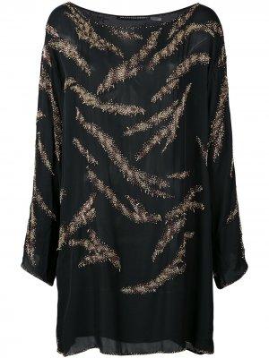 Туника с бисерной отделкой Josie Natori Couture. Цвет: черный