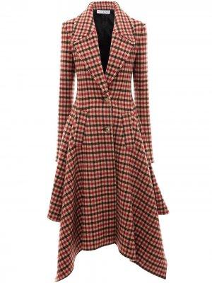 Пальто в клетку с асимметричным подолом JW Anderson. Цвет: красный
