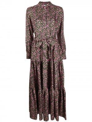 Платье-рубашка макси с цветочным принтом La Doublej. Цвет: черный