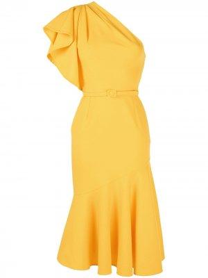Платье на одно плечо с поясом Oscar de la Renta. Цвет: желтый