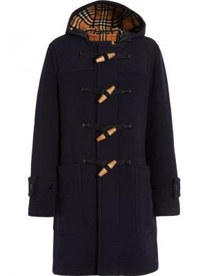 Дафлкот с капюшоном и отделкой в винтажную клетку Burberry. Цвет: синий