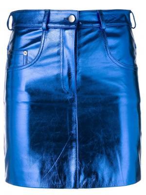 Юбка мини с эффектом металлик Manokhi. Цвет: синий