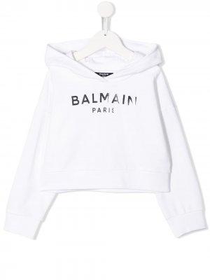 Худи с логотипом Balmain Kids. Цвет: белый