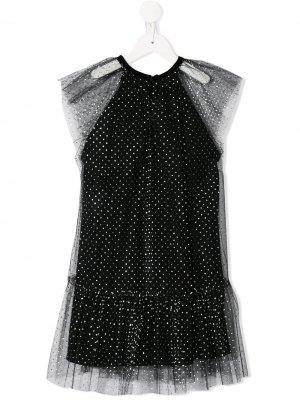 Ярусное тюлевое платье с пайетками Oscar De La Renta Kids. Цвет: черный