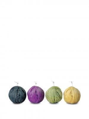 Набор Gomitolo из четырех свечей Missoni Home. Цвет: синий