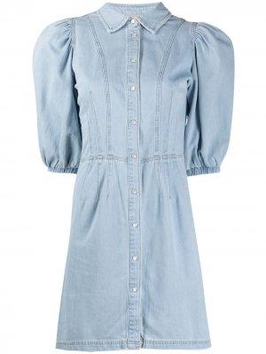 Джинсовое платье мини с пышными рукавами TWINSET. Цвет: синий