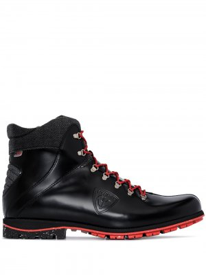Глянцевые ботинки на шнуровке Rossignol. Цвет: черный