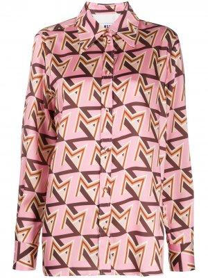 Атласная рубашка с принтом MSGM. Цвет: розовый