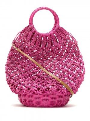 Соломенная сумка в технике кроше SERPUI. Цвет: розовый