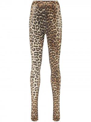 Колготки с леопардовым принтом GANNI. Цвет: черный