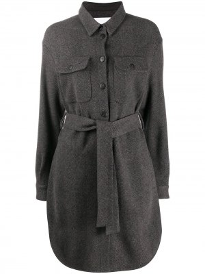 Платье-рубашка с узором в елочку Fabiana Filippi. Цвет: серый