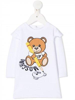 Топ с графичным логотипом Moschino Kids. Цвет: белый
