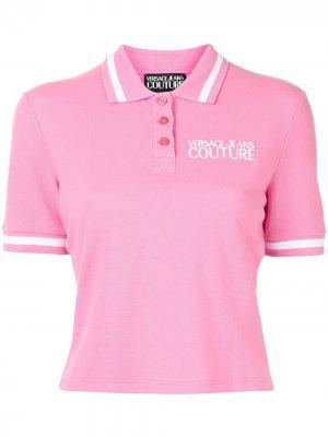 Рубашка поло с вышитым логотипом Versace Jeans Couture. Цвет: розовый