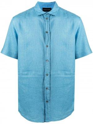 Рубашка с короткими рукавами Emporio Armani. Цвет: синий