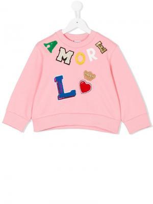 Толстовка с заплаткой Amore Dolce & Gabbana Kids. Цвет: розовый
