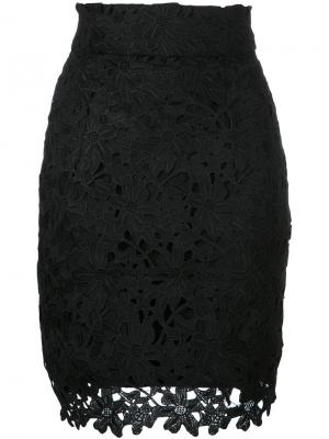 Кружевная мини-юбка Bambah. Цвет: черный