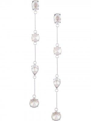 Серьги-клипсы с кристаллами Oscar de la Renta. Цвет: серебристый