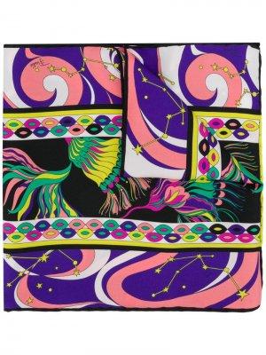 Твиловый шарф с принтом Fortuna Emilio Pucci. Цвет: черный