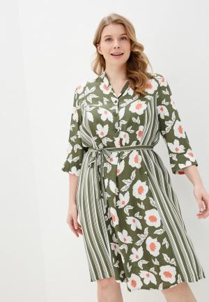 Платье Ulla Popken. Цвет: зеленый