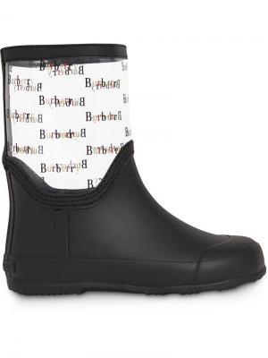 Резиновые сапоги с принтом логотипов Burberry Kids. Цвет: черный