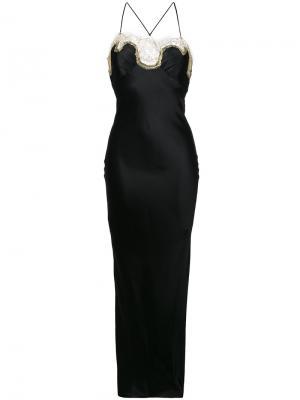 Длинная кружевная комбинация Gilda & Pearl. Цвет: черный