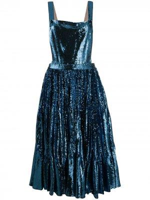 Платье-сарафан с пайетками Marco De Vincenzo. Цвет: синий