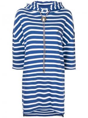 Полосатое платье-толстовка с капюшоном The Upside. Цвет: синий