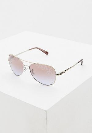 Очки солнцезащитные Coach. Цвет: серебряный
