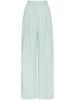 Широкие брюки со складками Vika Gazinskaya. Цвет: зеленый