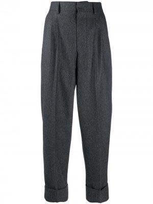 Укороченные брюки прямого кроя AMI Paris. Цвет: серый