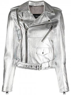 Байкерская куртка с эффектом металлик Manokhi. Цвет: серебристый