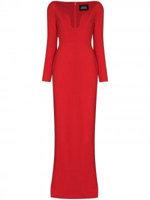 Платье макси Sanna с открытыми плечами Solace London. Цвет: красный
