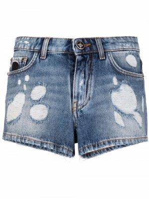 Джинсовые шорты с прорезями John Richmond. Цвет: синий