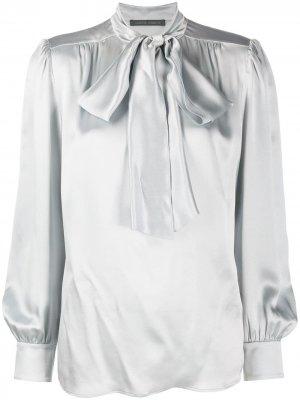 Рубашка с завязками на воротнике Alberta Ferretti. Цвет: серый