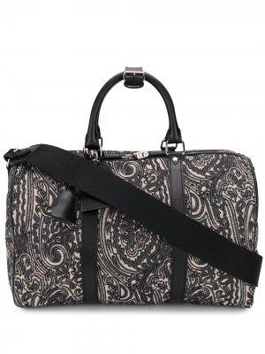 Жаккардовая дорожная сумка с узором пейсли Etro. Цвет: черный