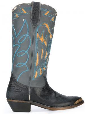 Ковбойские ботинки с тиснением Golden Goose Deluxe Brand. Цвет: чёрный