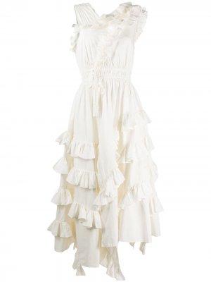 Платье миди Linnea асимметричного кроя Ulla Johnson. Цвет: белый