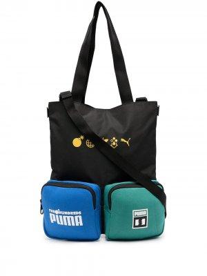 Сумка с надписью и накладными карманами Puma. Цвет: черный