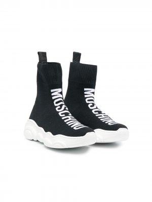 Кроссовки-слипоны с логотипом Moschino Kids. Цвет: черный