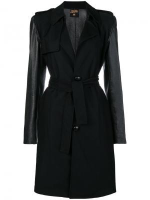 Пальто с поясом на талии Jean Paul Gaultier Pre-Owned. Цвет: черный