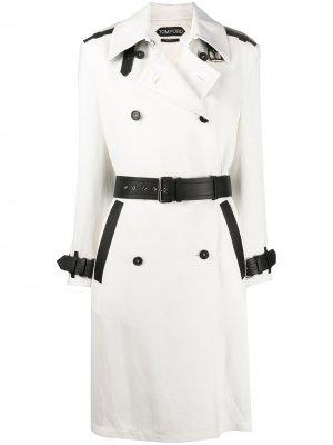 Двубортное пальто с контрастными полосками Tom Ford. Цвет: белый