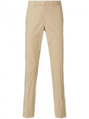 Прямые брюки с мятым эффектом Incotex. Цвет: коричневый
