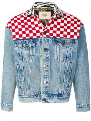 Джинсовая куртка с узором в клетку Herman. Цвет: синий