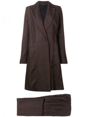 Расклешенное пальто с брюками 1990-х годов Gianfranco Ferré Pre-Owned. Цвет: коричневый